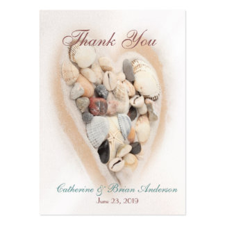 Heart of Seashells Beach Wedding Photo Thank You Business Cards