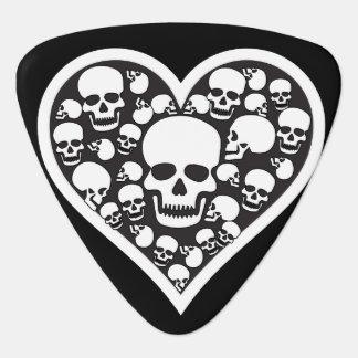 Heart of Skulls Black and White Guitar Pick