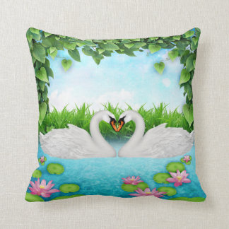 Heart of swans cushion