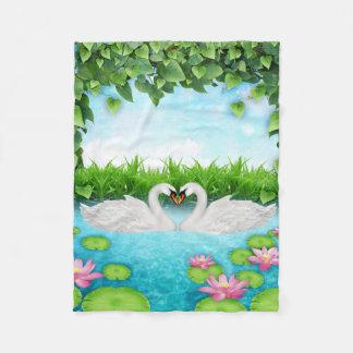 Heart of swans fleece blanket