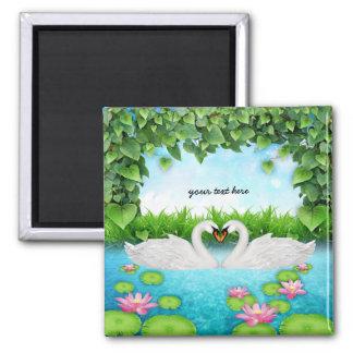 Heart of swans fridge magnets
