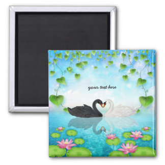 Heart of swans square magnet
