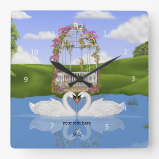 Heart of swans square wall clock