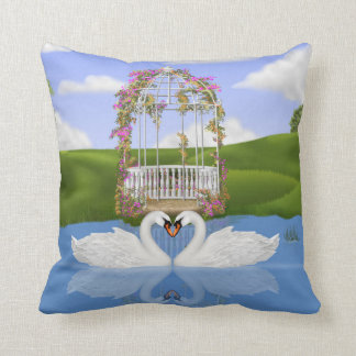 Heart of Swans Throw Pillow