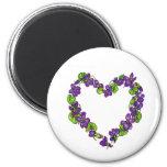 Heart of Violets 6 Cm Round Magnet