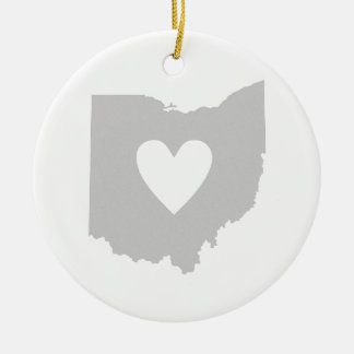 Heart Ohio state silhouette Christmas Ornament