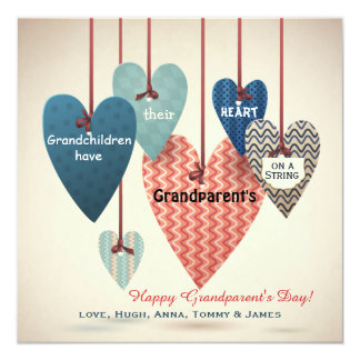 Heart on a String Grandparents Day Card 13 Cm X 13 Cm Square Invitation Card