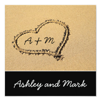 Heart on Beach Wedding Invitation