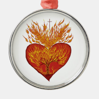 Heart on Fire Christmas Ornament