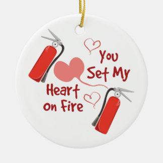 Heart On Fire Round Ceramic Decoration