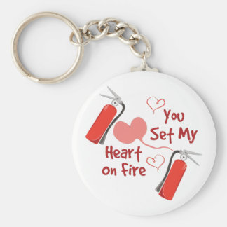 Heart On Fire Basic Round Button Key Ring