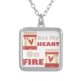 Heart On Fire Square Pendant Necklace