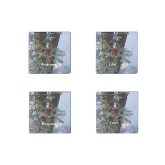 Heart on Pine Tree Stone Magnet
