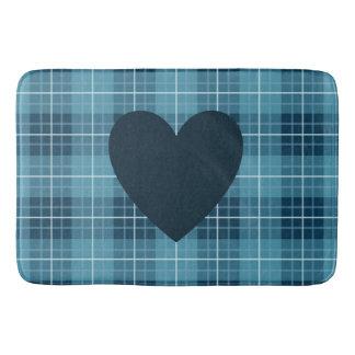 Heart on Plaid Blues Bath Mats
