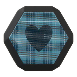 Heart on Plaid Blues Black Bluetooth Speaker
