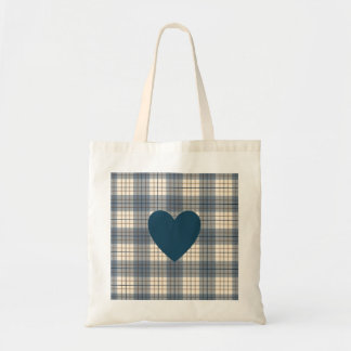 Heart on Plaid Blues Brown Cream