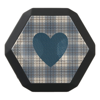 Heart on Plaid Blues Brown Cream Black Bluetooth Speaker