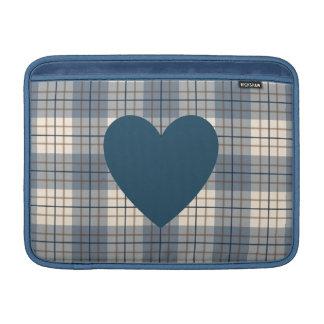 Heart on Plaid Blues Brown Cream MacBook Sleeve