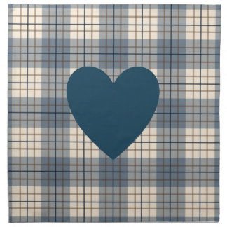 Heart on Plaid Blues Brown Cream Napkin