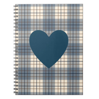 Heart on Plaid Blues Brown Cream Notebook
