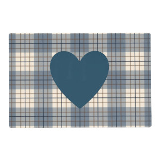 Heart on Plaid Blues Brown Cream Placemat