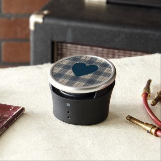 Heart on Plaid Blues Brown Cream Speaker