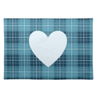 Heart on Plaid Blues II Placemat