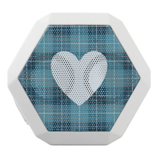 Heart on Plaid Blues II White Bluetooth Speaker