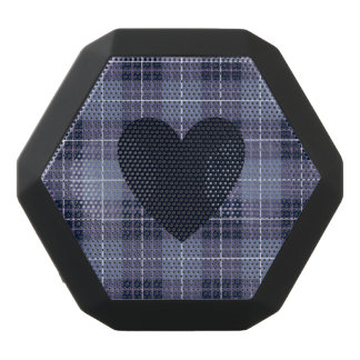 Heart on Plaid Blues & Purples Black Bluetooth Speaker