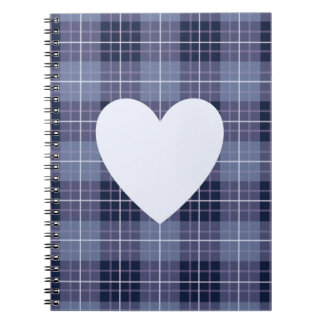 Heart on Plaid Blues & Purples II Notebooks