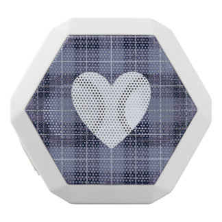 Heart on Plaid Blues & Purples II White Bluetooth Speaker