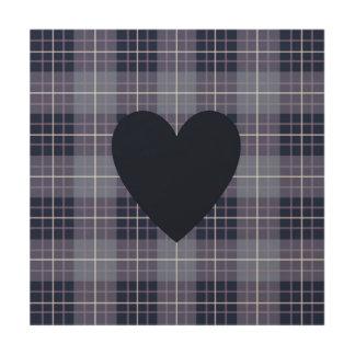 Heart on Plaid Blues & Purples Wood Print