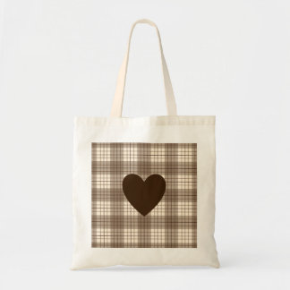 Heart on Plaid Browns & Cream