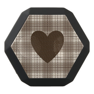 Heart on Plaid Browns & Cream Black Bluetooth Speaker