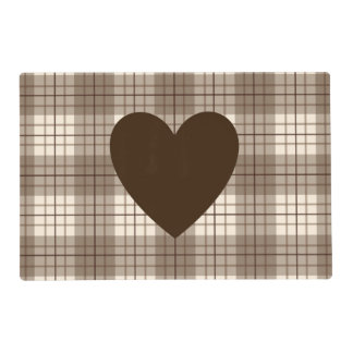 Heart on Plaid Browns & Cream Laminated Place Mat