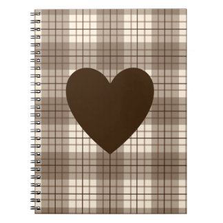 Heart on Plaid Browns & Cream Notebooks