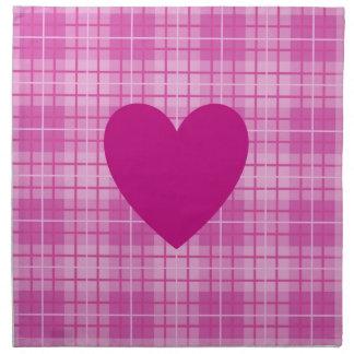 Heart on Plaid Pinks I Napkin