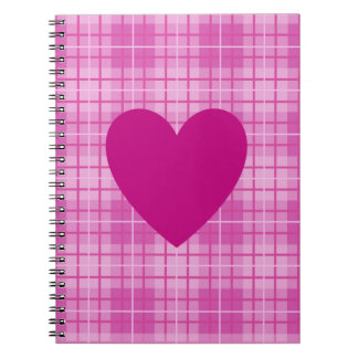 Heart on Plaid Pinks I Notebooks