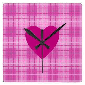 Heart on Plaid Pinks I Wall Clock