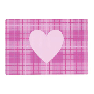 Heart on Plaid Pinks II Laminated Place Mat