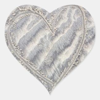 Heart on the sand, love rustic beach heart sticker
