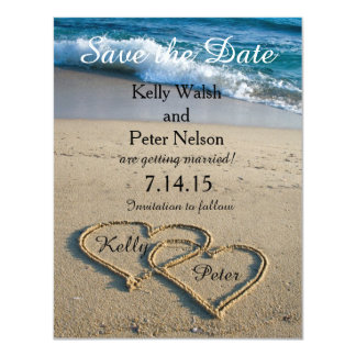 Heart on the Shore Beach Save the Date Card 11 Cm X 14 Cm Invitation Card