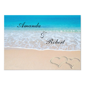 Heart on the Shore Beach Wedding Invitation