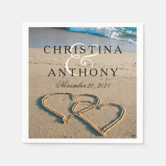 Heart on the Shore Beach Wedding Napkin Paper Serviettes