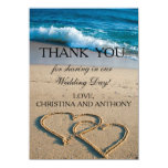 Heart on the Shore Beach Wedding Thank You Note 11 Cm X 16 Cm Invitation Card