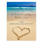 Heart on the Shore Beach Wedding Thank You Note Postcard