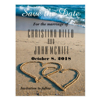 Heart on the Shore Wedding Save the Date Postcard
