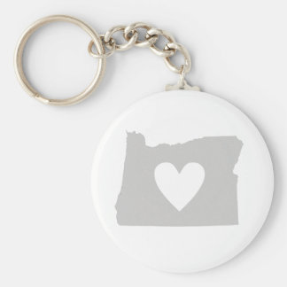 Heart Oregon state silhouette Basic Round Button Key Ring