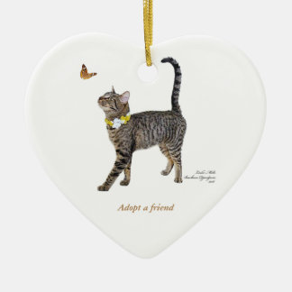 Heart Ornament Featuring Tabatha, the Tabby