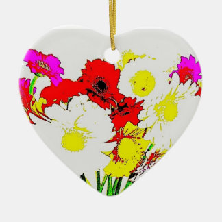 Heart Ornament with Summer Flower design